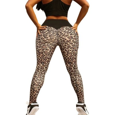 Women's Yoga Pants Tummy Control Butt Lift-up High Waisted Workout Leggings Leopard Print Cropped Pencil Pant