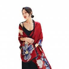 Imitation Silk Scarf for Women Chinese Style Square Shape Suitable for Many Occasions Shawl, Wide Range Scarves