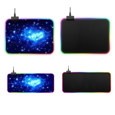 RGB Mouse Pad with Light Stripe Fine Textured and Thickened Skip-free Rubber Reverse Side Mouse Mat Computer Accessory Mousepad