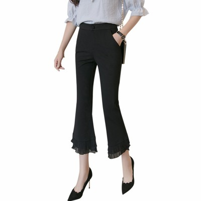 Women Flare Bottoms Mid Waisted Wide Leg Chiffon Palazzo Pants with Pocket Capris Leggings Bell-bottom Trousers