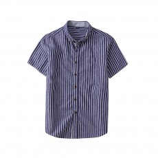Short-Sleeve Stripe Shirt Men Casual Button Down Cotton Loose Shirts Quick-drying T-shirts Gifts for Men