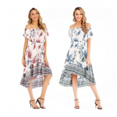 Holiday & Beach Dress for Women, Bohemian Print Dress, Sexy Off Shoulder Long Dress for Women