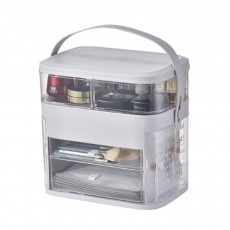 Rotating Cosmetic Storage Case Jewelry Compartments Dustproof Storage Box Makeup Organizer