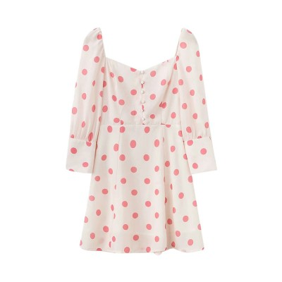Polka Dot Dress for Women Three Quarter Sleeve Collect Waist Fine Linen Square-cut Collar Short Skirt 2019
