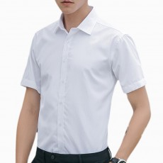 Men's Short Sleeve Shirts with Regular Fit Formal Business Cotton Solid Shirt Classic Slim Fit Flex Collar Dress Shirt