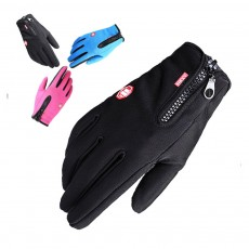 Winter Gloves PU Warm Waterproof Anti-skid Touchscreen Zipper Gloves for Running Hiking Climbing Skiing for Men Women