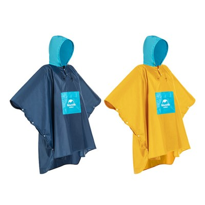 Color Stitching Raincoat for Adults, Portable Hiking Poncho with Hood & Sleeves, Outdoors Ultralight Raincoat