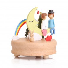 Wooden Music Box, Handware Wood Craft Household Decoration for Valentine Couple Lover Gifts Presents