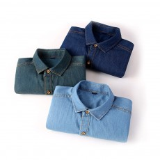 Men's Short Sleeve Shirts Casual Button Down Western Vintage Denim Shirt Cotton Loose Shirts