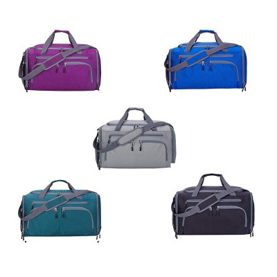 Nylon Oxford Wet and Dry Separation Bag with Two-way Zipper Major Pocket Durable Waterproof Separate Shoe Pocket Unisex Travelling Bag Large Capacity Valise Storage Bag
