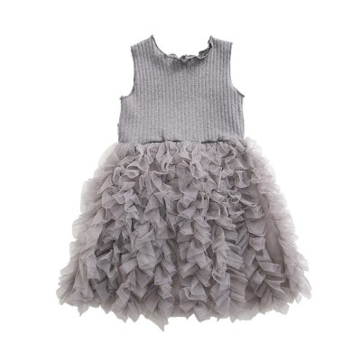 Lovely Princess Dress for Little Girls, Leisure Sleeveless Plain Dress for Girls from 3 to 8