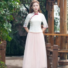 Chinese Dress Retro Improved Cheongsam Blossoms Fairy Costume Genuine Original Two-Piece Improved Hanfu