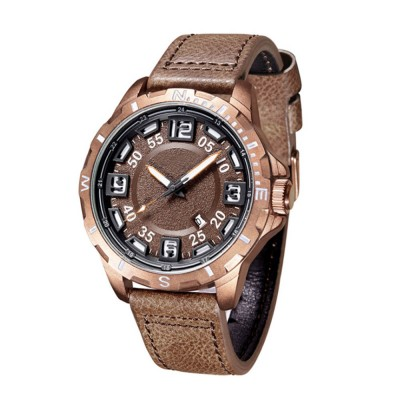 Casual Quartz Watch for Men Waterproof Quartz Watch With Stainless Steel Clasp Watch Leather Wrist Strap