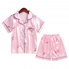 Casual Mother Daughter Pajamas Matching Comfortable Ice Silk Satin Pajama Set with Shirt and Short Pant