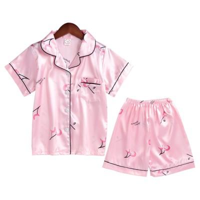 Casual Mother Daughter Pajamas Matching Comfortable Ice Silk Satin Pajama Set with Shirt and Short Pant