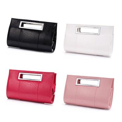 Women Evening Bag Casual PU Leather Dinner Bag with Removable Handle Zipper Pocket Durable Wear Resistant Concealed Pocket Crocodile Pattern Handbag