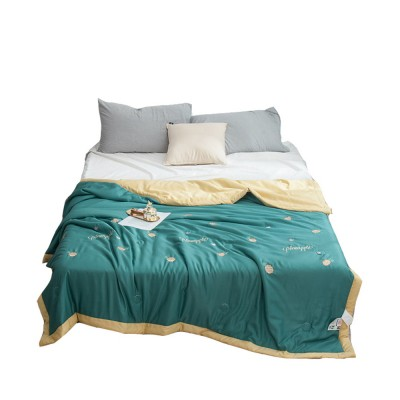 Modal Silk Embroidered Quilt for Summer Pure Air Conditioning Quilt for Two Person