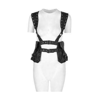 Square Shape Waist Strap Adjustable Belt Backpack, Locomotive Style Bag for Women, PU Leather Waistcoat Halloween Gift