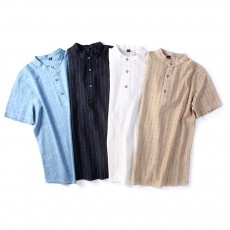 Men's Pure Color T-Shirts Stripe Short Sleeve Shirt Fashion Loose Casual Quick-Dry T-Shirt for Men