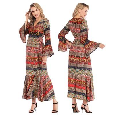 Flared Sleeve Beach Dress for Women, Women V-neck Chiffon Dress Ruffle Hem