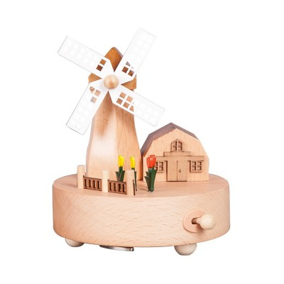 Rotation Wooden Music Box, Romantic Windmill Wood Craft Artware Handmade Decoration Gifts & Presents for Children Kids Friends