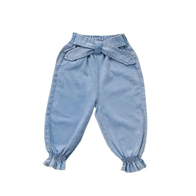 Stretch Pants Spandex Trousers for 3-8 Years Old Kids, Elastic Belt Jeans for Little Girl