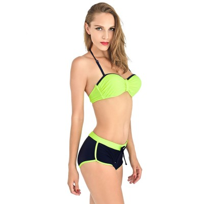Two Pieces Sexy Bathing Suits Swimsuit Spandex Chinlon Slim Thin Briefs for Women Bikini Breathable Swimwear Set