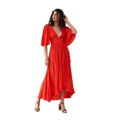 Deep V-neck Bohemian Dress Slim Waist Belt Irregular Style Orange Skirt Maxi Dress Summer for Women