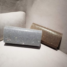 Clutch PU Diamond-studded Material Shiny Surface Long Style Handbag for Dinner Party Women Fashionable Evening Bag