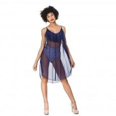 Beach Mesh Dress Perspective Design Adjustable Shoulder Strap Gauze Skirt for Women Beach Swimming Sun Protect Wear