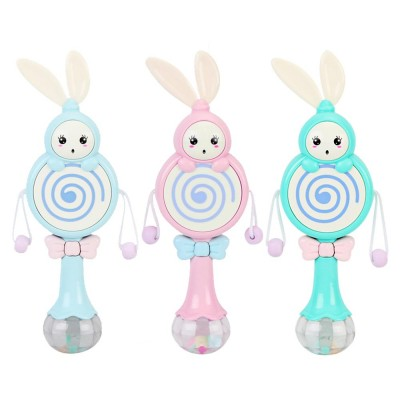 4- in-1 Baby Rattle Toy with Lights Music, Food Grade BPA Free Teether for Baby Cute Cartoon Shape Rattle Teether Toys