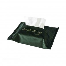 Nordic Exquisite Embroidery Velvet Tissue Box, Household Paper Storage Bag, with Exquisite Turning Line