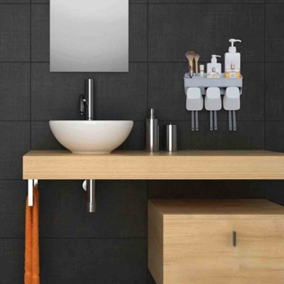 Wall-mounted Toothbrush Rack Set, High-quality PP Punch-Free Brushing Cup Holder, with Smiley Face Shape