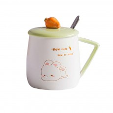 Cute Rabbit Coffee Cup, Korean Version with Cover Scoop Mug, Creative Trend Ceramic Cup