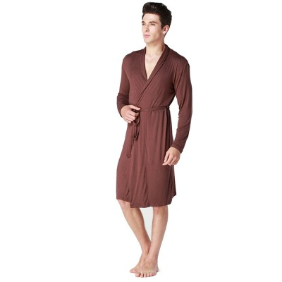 Modal Night-gown for Men Comfortable Slippy Material Big and Tall Sexy Bathrobe Sleepwear with Belt for Summer