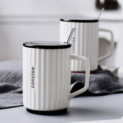 Creative Simple Ceramic Cup, Nordic Household Milk Cup with Lid Spoon, Office Drinking Mug