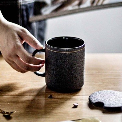Office Ceramic Japanese Mug, High-Grade Coffee Cup with Lid Spoon, Men's Simple Gift Cup