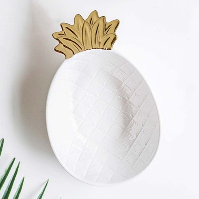 Gold-Plated Ceramic Pineapple Dishes, Nordic Jewelry Pendulum Tableware, Creative Household Plates