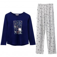 Pajamas Set for Couple, Long Sleeve Pajama for Autumn and Winter, 100% Cotton Homewear Set, Simple Designed Sleepwear Set