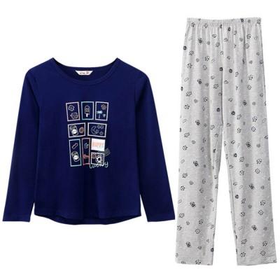Pajamas Set for Couple, Long Sleeve Pajama for Autumn and Winter, 100% Cotton Homewear Set, Simple Designed Sleepwear Set