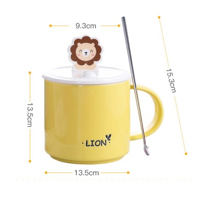 Office Creative Ceramic Cup, Ladies Cup with Spoon Cover, Home Milk Breakfast Coffee Cup