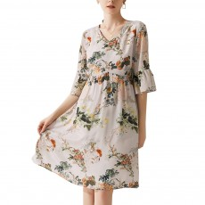 Elegant Fancy Stylish Flower Painting V-neck High-waist Three Quarter Falbala Sleeve Dress Atmosphere A-Type Ladies Dress
