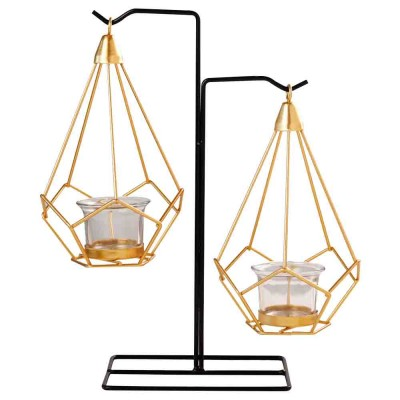 Candlestick Nordic Ins Geometric Wrought Iron Hanging Candle Holder Modern Home Decor Table Candle Decor Shooting Props Gold & Black