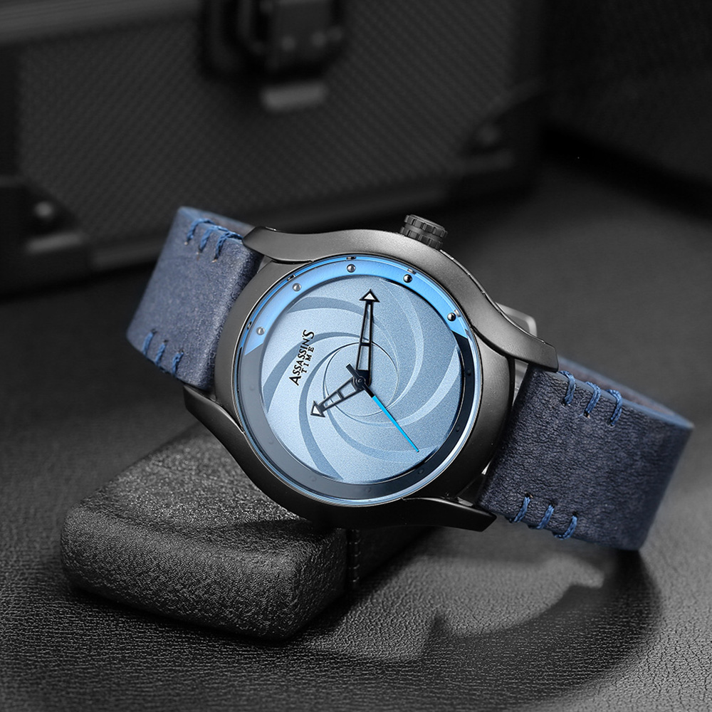 Chic Wrist Watch with Leather Belt for Men Unique Personality Tornado Design Dial Waterproof Watch