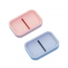 Creative Soap Box with Lid, Soap Holder with Drain Design, Portable Japanese Style Bathroom Accessory Double Soap Box Tray
