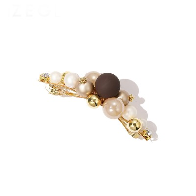 Hair Pin with Pearls Elegant Hair Accessory Retro Baroque Style Alloy Metal Ideal for Girlfriend Women Gifts