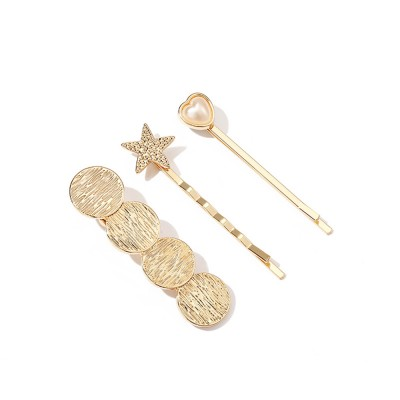 3 Pieces Metal Gold Hair Pins for Girls Women Hair Styling Barrette Accessories with Simple Round and Star Shaped