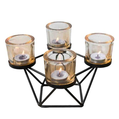 Candlestick Romantic Nordic Geometric Wrought Iron&Glass Candle Holder Simple Modern Retro Home Decor Ornaments Props Light