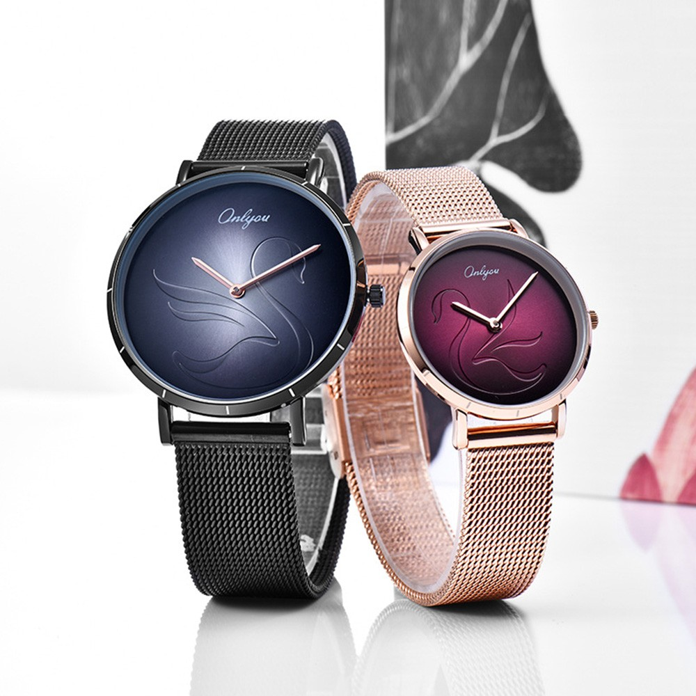 2 Pack Ultra Thin Couple Lovers Wrist Watches Set with Mesh Strap and Quartz Movement for Lovers