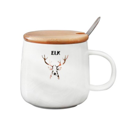 Christmas Ceramic Mugs with Reindeer Logo, Porcelain Mug with Wood Lids, Coffee Mugs with Stainless Steal Spoon, Special Dark Fringe Appearance